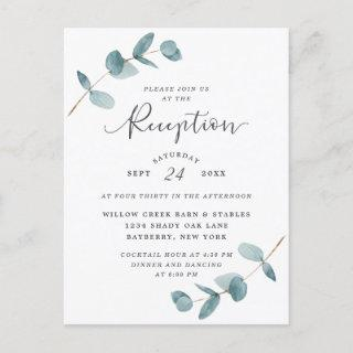 Simple Eucalyptus Wedding Reception Invitations