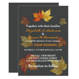 Simple Falling Maple Leaves Wedding Invitation