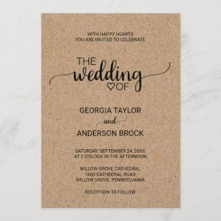 Simple Faux Kraft Calligraphy Wedding Invitation