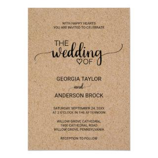 Simple Faux Kraft Calligraphy Wedding Invitations