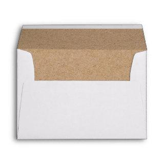 Simple Faux Kraft Heart Lined Wedding Invitation Envelope