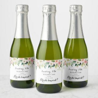 Simple Floral Green Foliage Bridesmaid Proposal Champagne Label