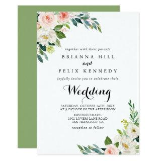 Simple Floral Green Foliage Front & Back Wedding Invitations