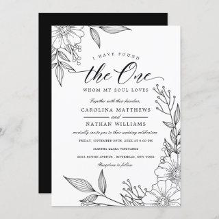 Simple Floral I Have Found The One | Black Wedding Invitation