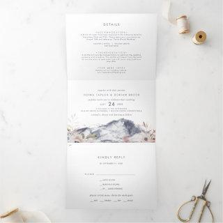 Simple Floral Mountain Photo Wedding All In One Tri-Fold Invitations