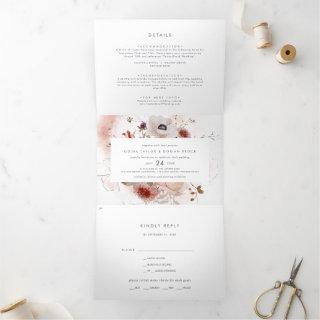 Simple Floral Photo Wedding All In One Tri-Fold Invitation