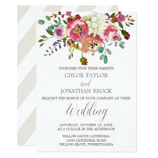 Simple Floral Watercolor Bouquet Wedding Invitations