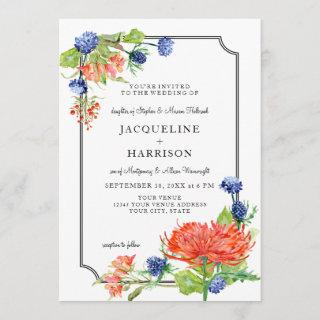 Simple Floral Watercolor Fall Orange Blue Thistle Invitations