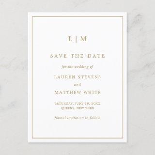 Simple Gold and White Monogram Save the Date Announcement Postcard