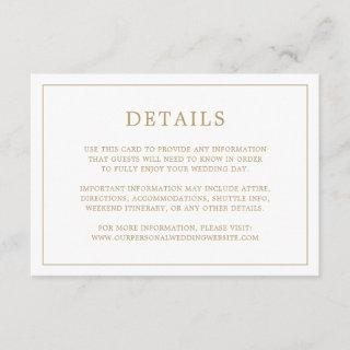 Simple Gold and White Monogram Wedding Details Enclosure Card