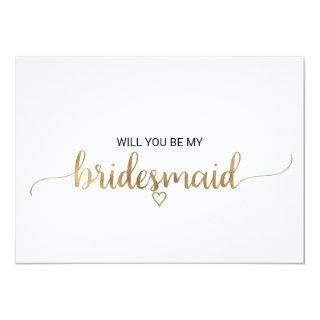 Simple Gold Calligraphy Bridesmaid Proposal Invitations
