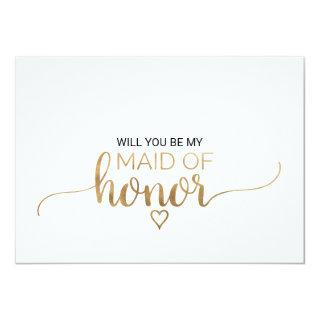 Simple Gold Calligraphy Maid Of Honor Proposal Invitations
