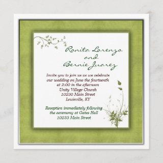 Simple Green Wedding Floral Invitations