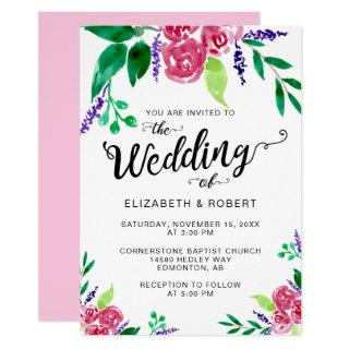 Simple Hand Lettered Watercolor flowers pink cute Invitation