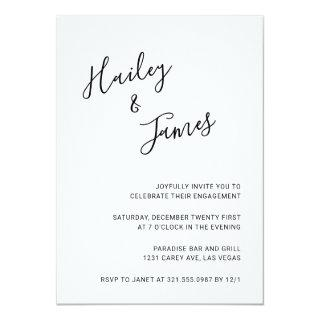 Simple Handwritten Script Names Engagement Party Invitations