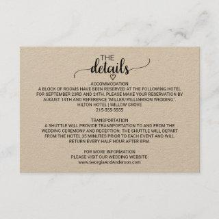 Simple Kraft Calligraphy Details Card