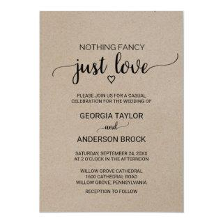 Simple Kraft Calligraphy Nothing Fancy Just Love Invitation