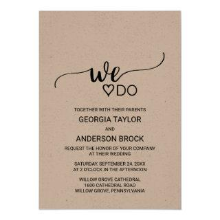 "Simple Kraft Calligraphy ""We Do"" Wedding Invitation"