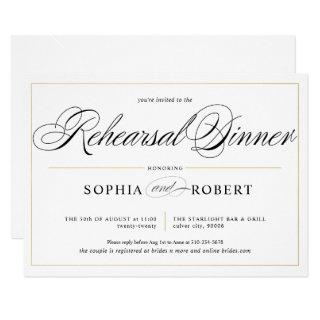 Simple Lines Calligraphy Elegant Rehearsal Dinner Invitations