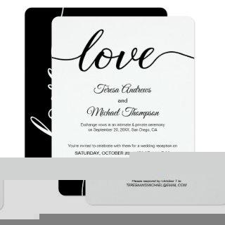 Simple Love Script Elopement Wedding Reception Invitations