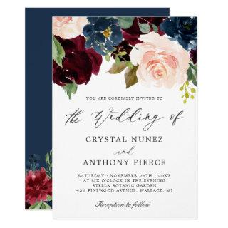 Simple Luxurious Burgundy Navy Floral Wedding Invitations