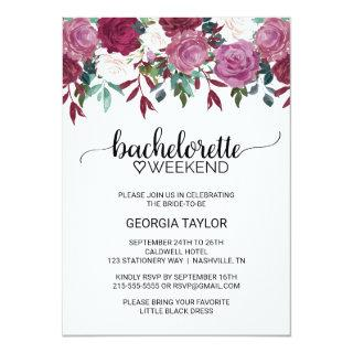 Simple Marsala and Burgundy Bachelorette Weekend Invitation