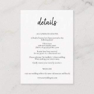 Simple Minimal Black And White Calligraphy Enclosure Card