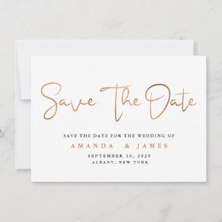 Simple Minimalist Cooper Gold Script Save The Date