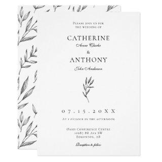 Simple Minimalist Elegant Classic Leaf Wedding Invitation
