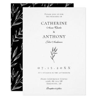 Simple Minimalist Elegant Classic Leaf Wedding Invitations