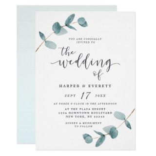Simple Minimalist Eucalyptus Calligraphy Wedding Invitations