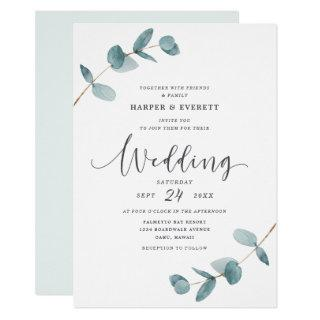 Simple Minimalist Eucalyptus Frame Script Wedding Invitations