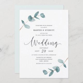 Simple Minimalist Eucalyptus Frame Script Wedding Invitation