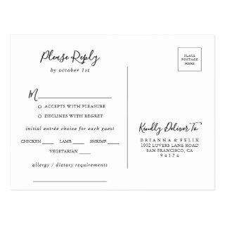 Simple Minimalist Menu Choice RSVP Postcard