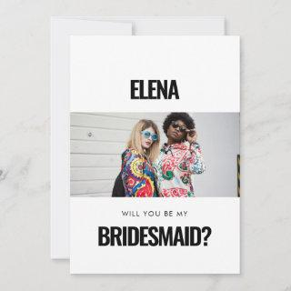 Simple minimalist photo Will you be my bridesmaid