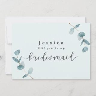 Simple Mint Eucalyptus Bridesmaid Proposal Card