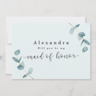 Simple Mint Eucalyptus Maid of Honor Proposal Card