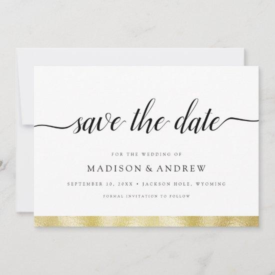 Simple Modern Calligraphy Gold Save the Date