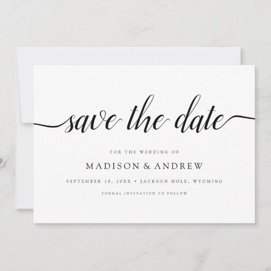 Simple Modern Calligraphy Photo Save the Date