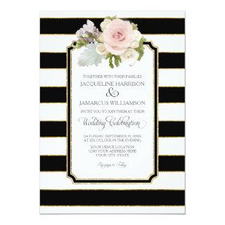 Simple Modern Elegant Black White Stripe w Gold Invitations
