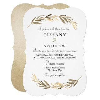 Simple Modern Elegant Gold Leaf Wedding Invitations
