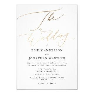 Simple Modern Gold Calligraphy Wedding Invitations