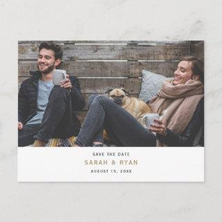 Simple Modern Gold Custom Photo Save the Date Announcement Postcard