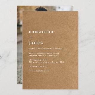 Simple Modern Minimal Faux Kraft Photo Wedding Invitations