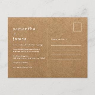 Simple Modern Minimal Faux Kraft Photo Wedding Invitations Postcard