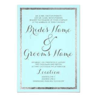 Simple Modern Mint Teal Silver Border Wedding Invitation