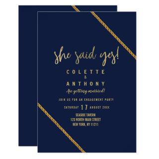 Simple modern navy blue faux gold Engagement Invitations
