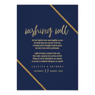 Simple modern navy blue faux gold  Wishing Well Invitation