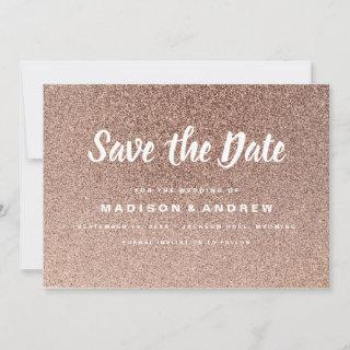 Simple Modern Rose Gold Glitter Save the Date