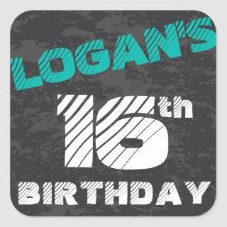 Simple Modern Teal Grey and Black Birthday Square Sticker